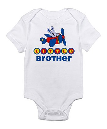 White 'Little Brother' Aviator Bunny Bodysuit - Infant