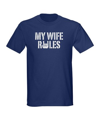 Navy 'My Wife Rules' Tee - Men