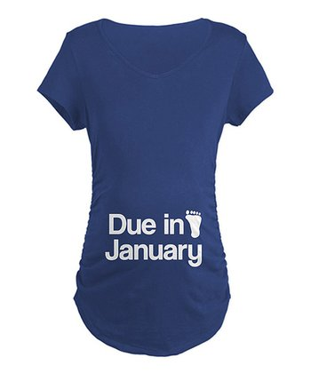 Navy 'Due in January' Maternity Tee