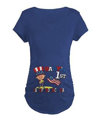 Navy 'Baby's First Independence Day' Maternity Tee