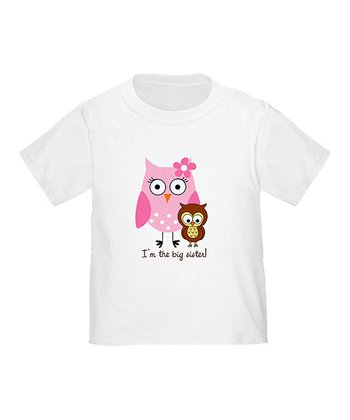 White 'Big Sister' Owl Tee - Toddler