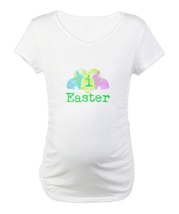 CafePress White I Love Easter Maternity Tee
