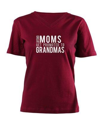 Garnet 'Moms Get Promoted' V-Neck Tee - Women