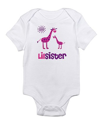 White 'Lil Sister' Giraffe Bodysuit - Infant