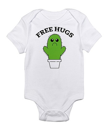 Cloud White 'Free Hugs' Cactus Bodysuit - Infant