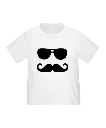 White Mustache & Sunglasses Tee - Toddler