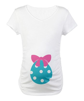 CafePress White Easter Egg Maternity Tee