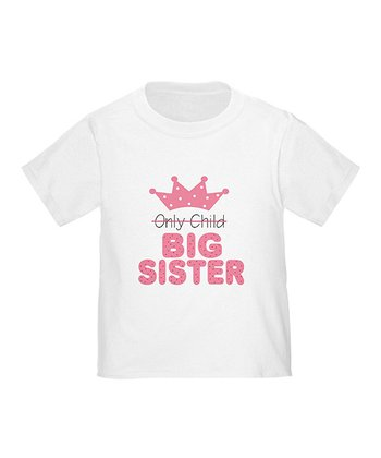 White 'Big Sister' Crown Tee - Toddler