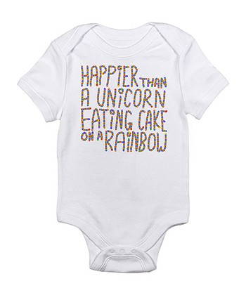 Cloud White 'Happier Than a Unicorn' Bodysuit - Infant