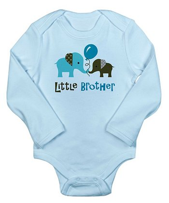 Blue 'Little Brother' Elephant Long-Sleeve Bodysuit - Infant