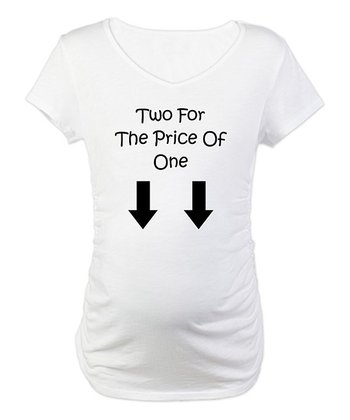 White 'Two for the Price of One' Maternity Tee - Women & Plus