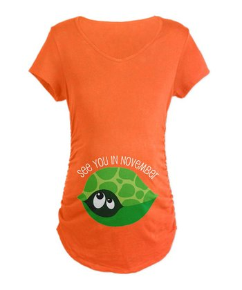 Orange Turtle 'See You in November' Maternity Tee - Women