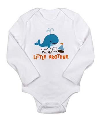 White 'Little Brother' Whale Long-Sleeve Bodysuit - Infant