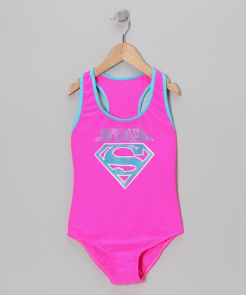 Pink & Turquoise 'Supergirl' One-Piece - Girls