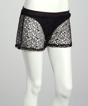 Black Mesh Shorts - Women