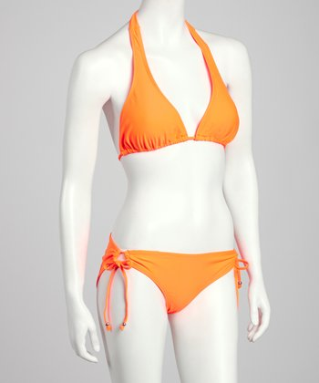 Neon Orange Halter Bikini - Women
