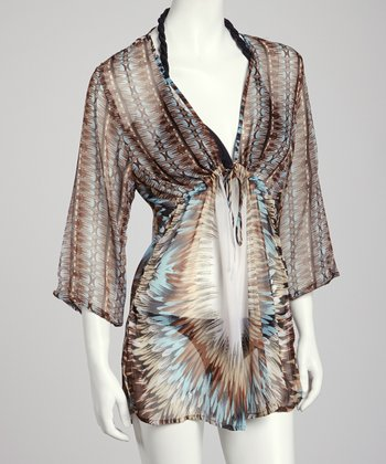 Brown & White Feather Drawstring Tunic Cover-Up