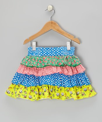 Blue & Yellow Kitten Tiered Ruffle Skirt - Toddler & Girls