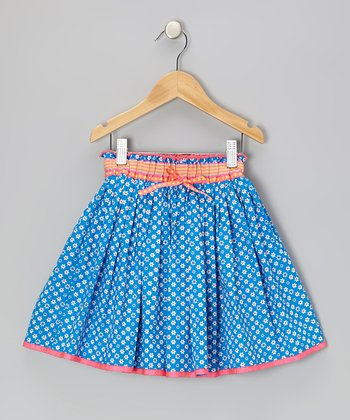 Blue & White Daisy Skirt - Toddler & Girls