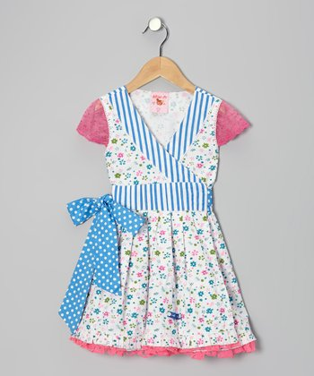 Blue & Pink Floral Wrap Dress - Toddler & Girls