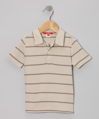 Sand & Taupe Stripe Polo - Toddler & Boys