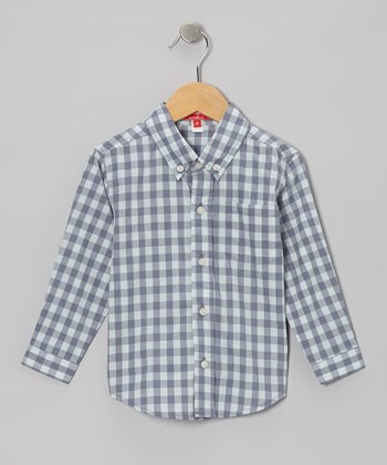 Aqua Gingham Button-Up - Toddler & Boys