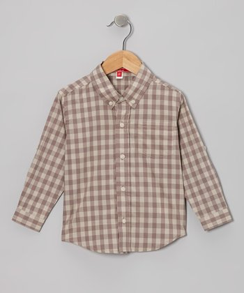 Sand Gingham Button-Up - Toddler & Boys