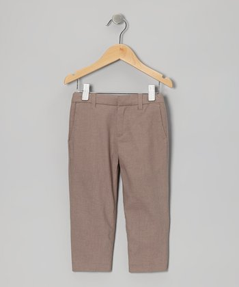 Taupe Dressy Linen-Blend Pants - Toddler & Boys