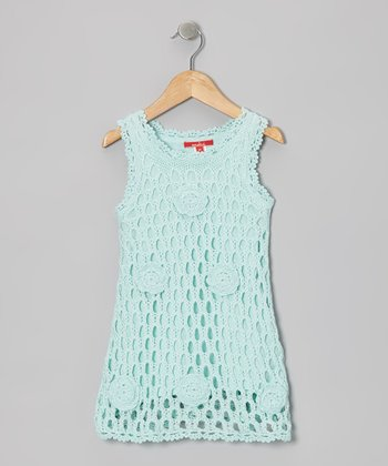 Aqua Rose Crochet Swing Dress - Toddler & Girls