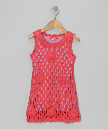 Hibiscus Rose Crochet Swing Dress - Toddler & Girls
