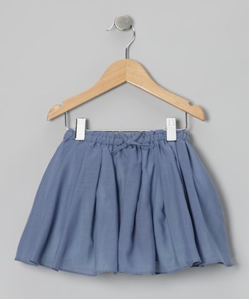 Indigo & Aqua Pleated Reversible Skirt - Toddler & Girls