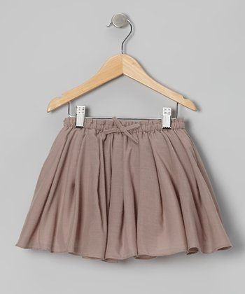 Taupe & Shell Pleated Reversible Skirt - Toddler & Girls