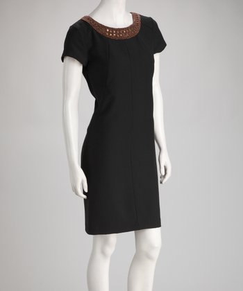 Black Embellished Scoop Neck Dress