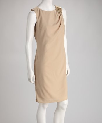 Tan Embellished Sheath Dress