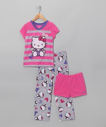 Pink & Gray Stripe Hello Kitty Pajama Set - Girls