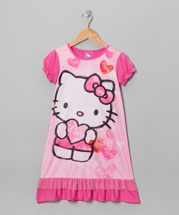 Pink Hello Kitty Ruffle Nightgown - Girls