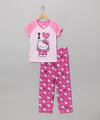 Pink 'I Heart' Hello Kitty V-Neck Pajama Set - Girls