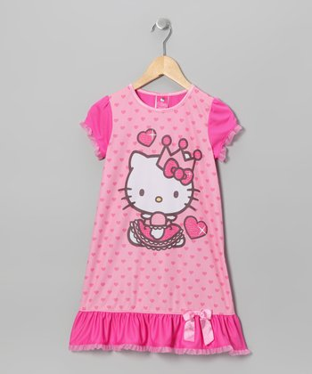 Pink Queen Kitty Ruffle Nightgown - Toddler & Girls