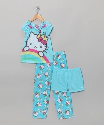 Blue Hello Kitty Rainbow Pajama Set - Toddler & Girls