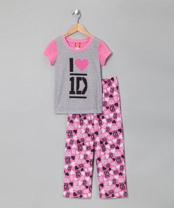 Pink & Gray 'I Love 1D' Pajama Set - Girls