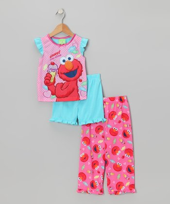 Pink & Aqua Elmo Pajama Set - Toddler
