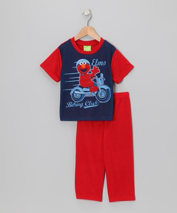 Navy & Red Elmo Pajama Set - Toddler