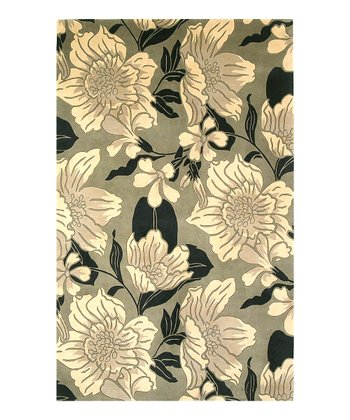 Black & White Dream Flora Catalina Wool Rug