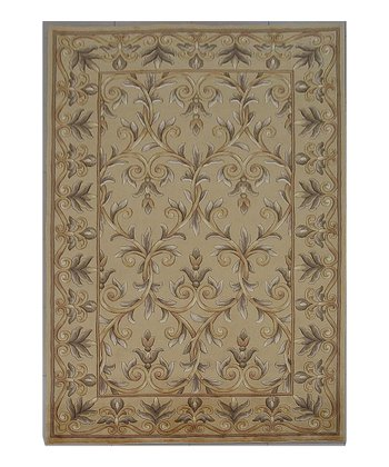 Gold Scroll Emerald Wool Rug