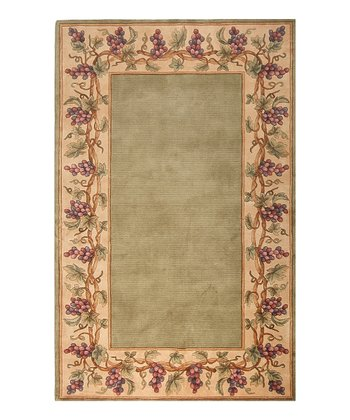 Sage Grape Emerald Wool Rug