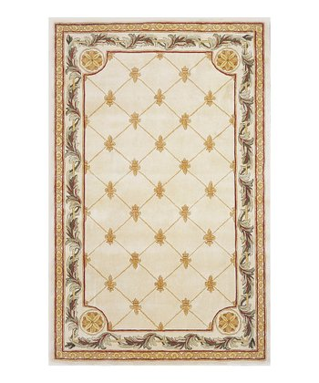Antique Ivory Fleur-de-Lis Jewel Wool Rug