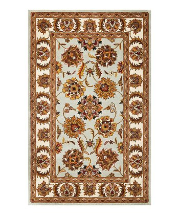 Light Blue & Ivory Agra Sonal Wool Rug