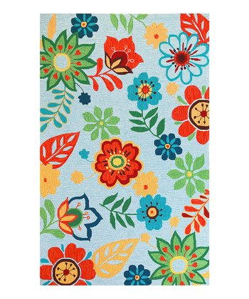 Light Blue Retro Floral Sonesta Rug
