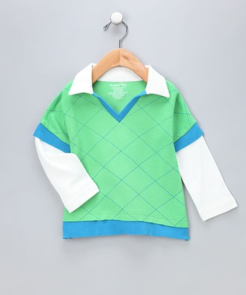 Green Argyle Organic Layered Tee - Infant
