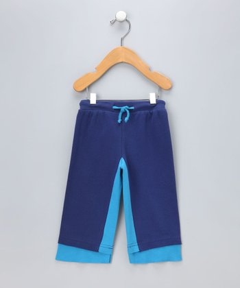 Blue Layered Drawstring Organic Pants - Infant